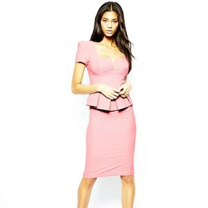 ASOS Baby Pink Peplum Square Neck Pencil Dress